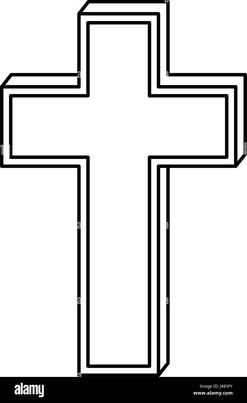 christian cross symbol icon - Stock Vector