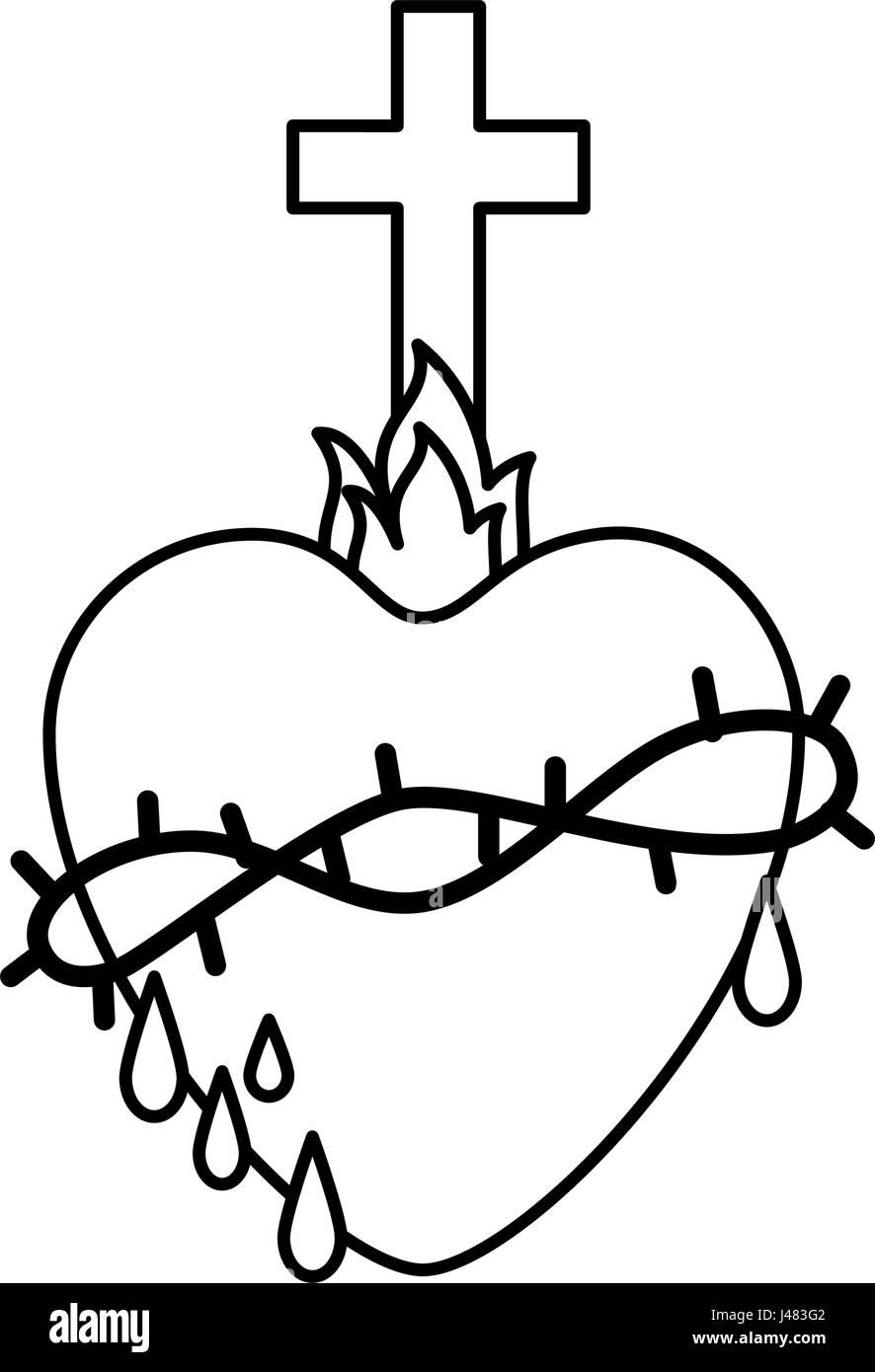 religion symbols black and white stock photos images alamy Middle East Farming sacred heart icon stock image
