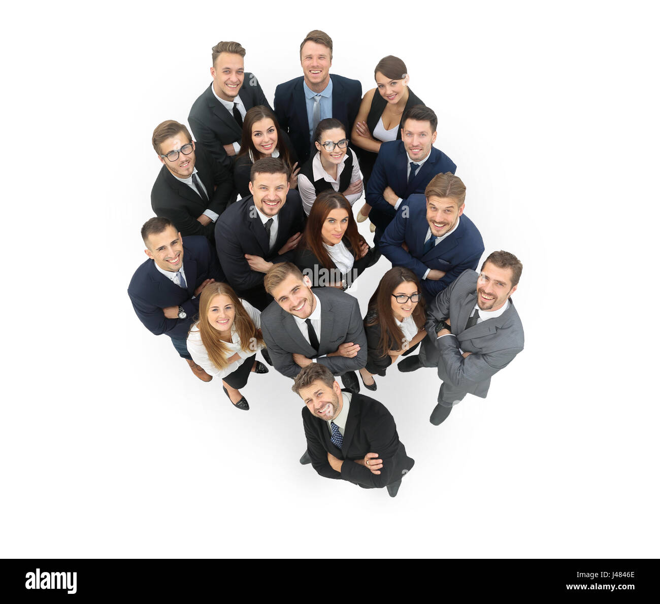 Portrait of smiling business people against white background - Stock Image