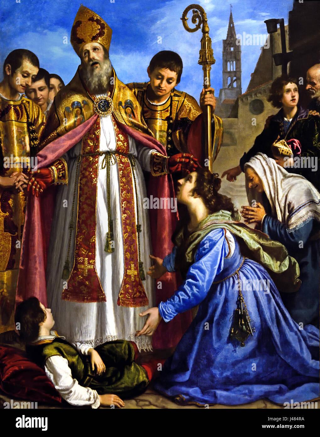 Saint Zenobius revives a Dead Boy  1610-20, Giovanni Bilivert 1585 - 1644 Italy Italian ( Saint Zenobius was a fifth - Stock Image