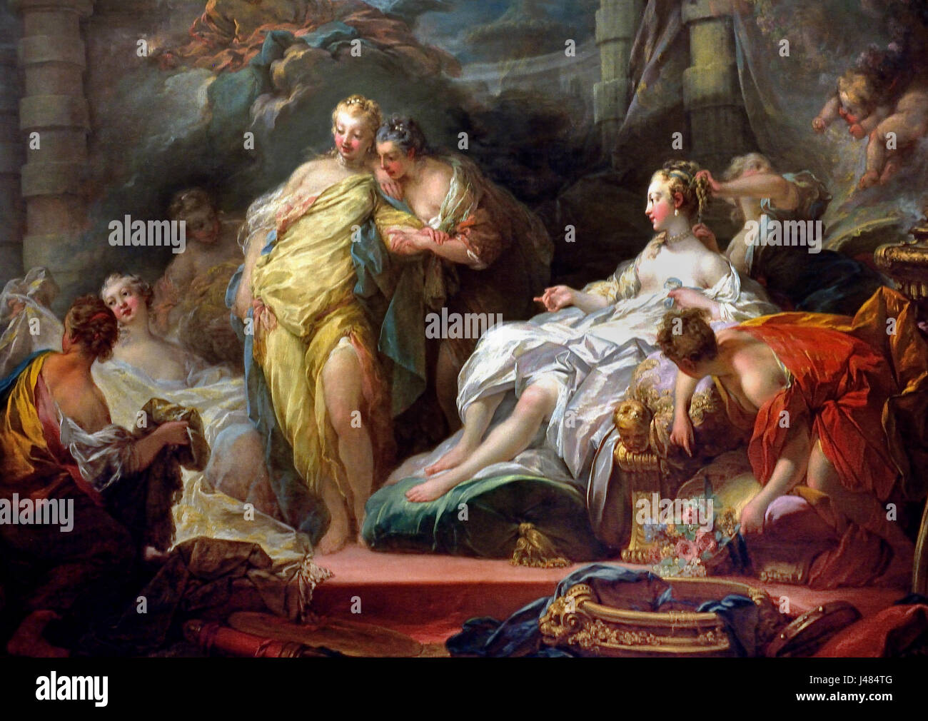 Psyche showing her Sisters her Gifts from Cupid, 1753  Jean Honoré FRAGONARD 1732-1806 French France ( Based - Stock Image