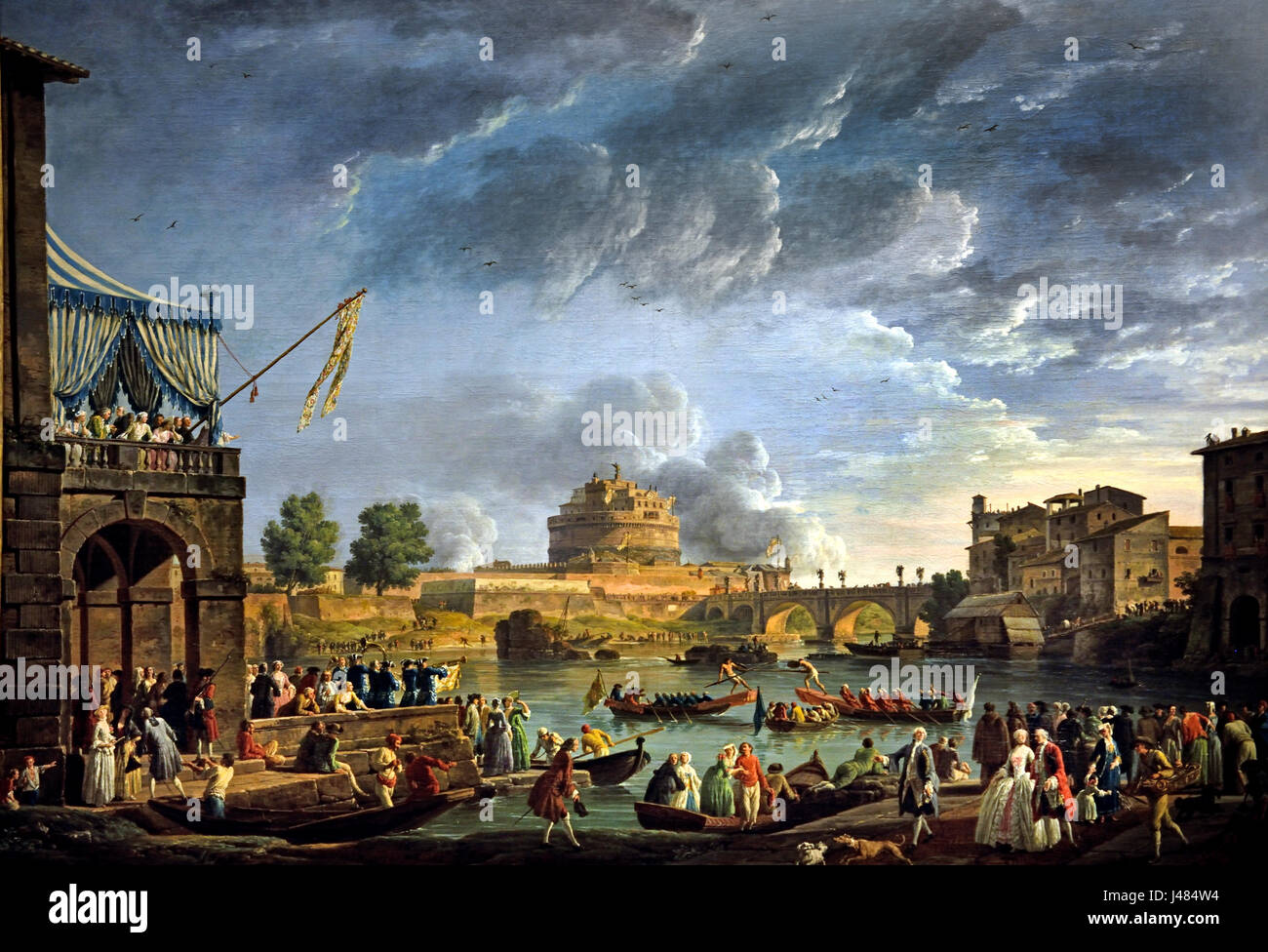 A Sporting Contest on the Tiber at Rome, 1750 Vernet, Claude Joseph1714-1789 France French (The Bridge and Castle - Stock Image