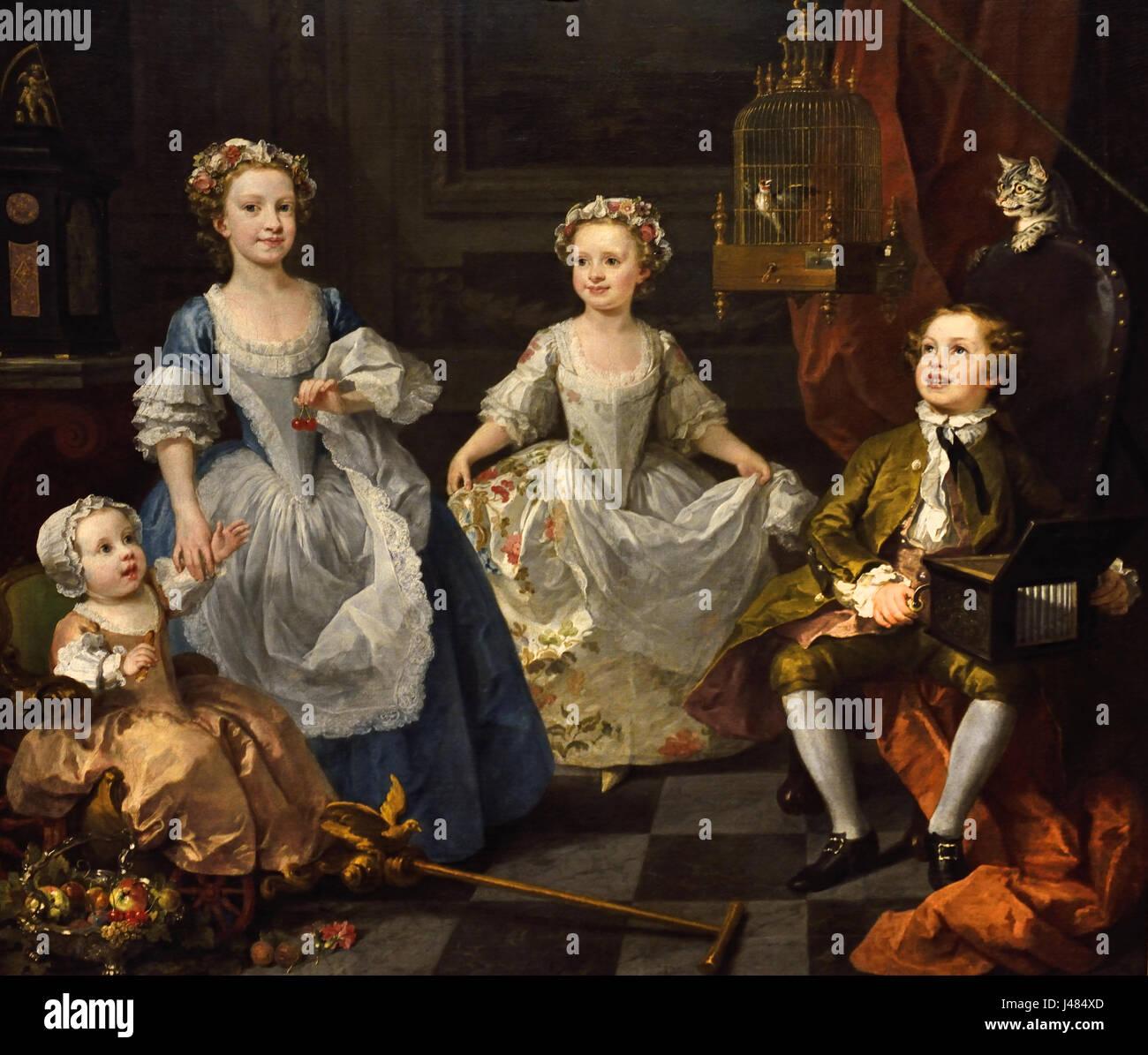 The Graham Children 1742 William Hogarth 1697-1764 English England - Stock Image