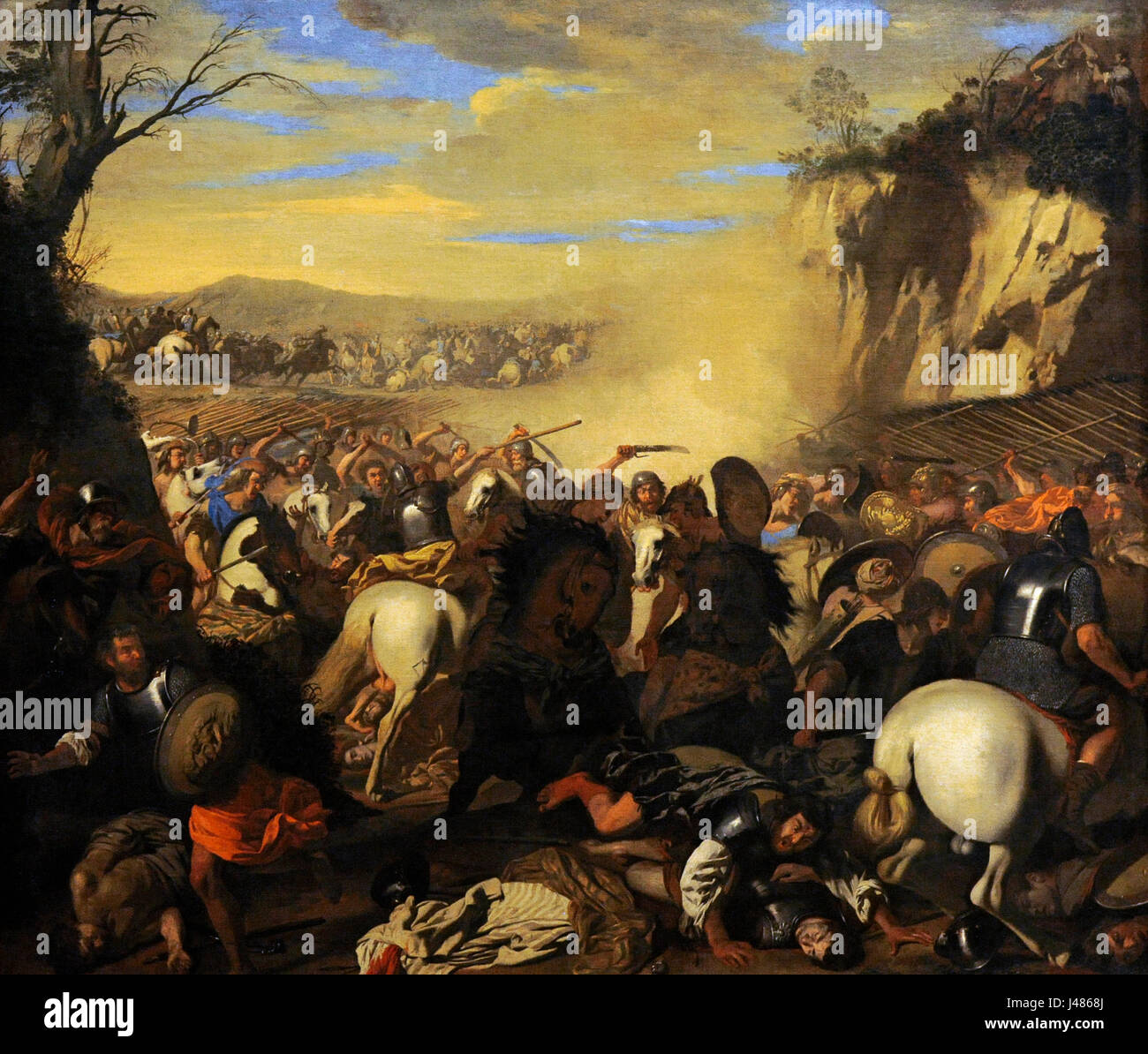 Aniello Falcone (1607-1656). Baroque italian painter. Battle against  amaleks and jews, 1640-45. National Museum of Capodimonte. Naples. Italy.