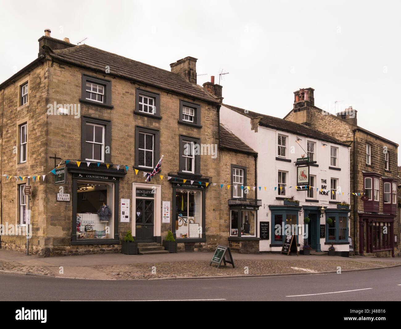 Silver Street vibrant and friendly market town Masham Lower Wensleydale North Yorkshire England UK - Stock Image