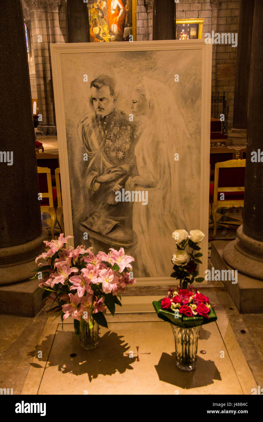 Burial vault of Prince Grace Ranier Grimaldi of Monaco, in Monaco Cathedral, Monte Carlo. - Stock Image