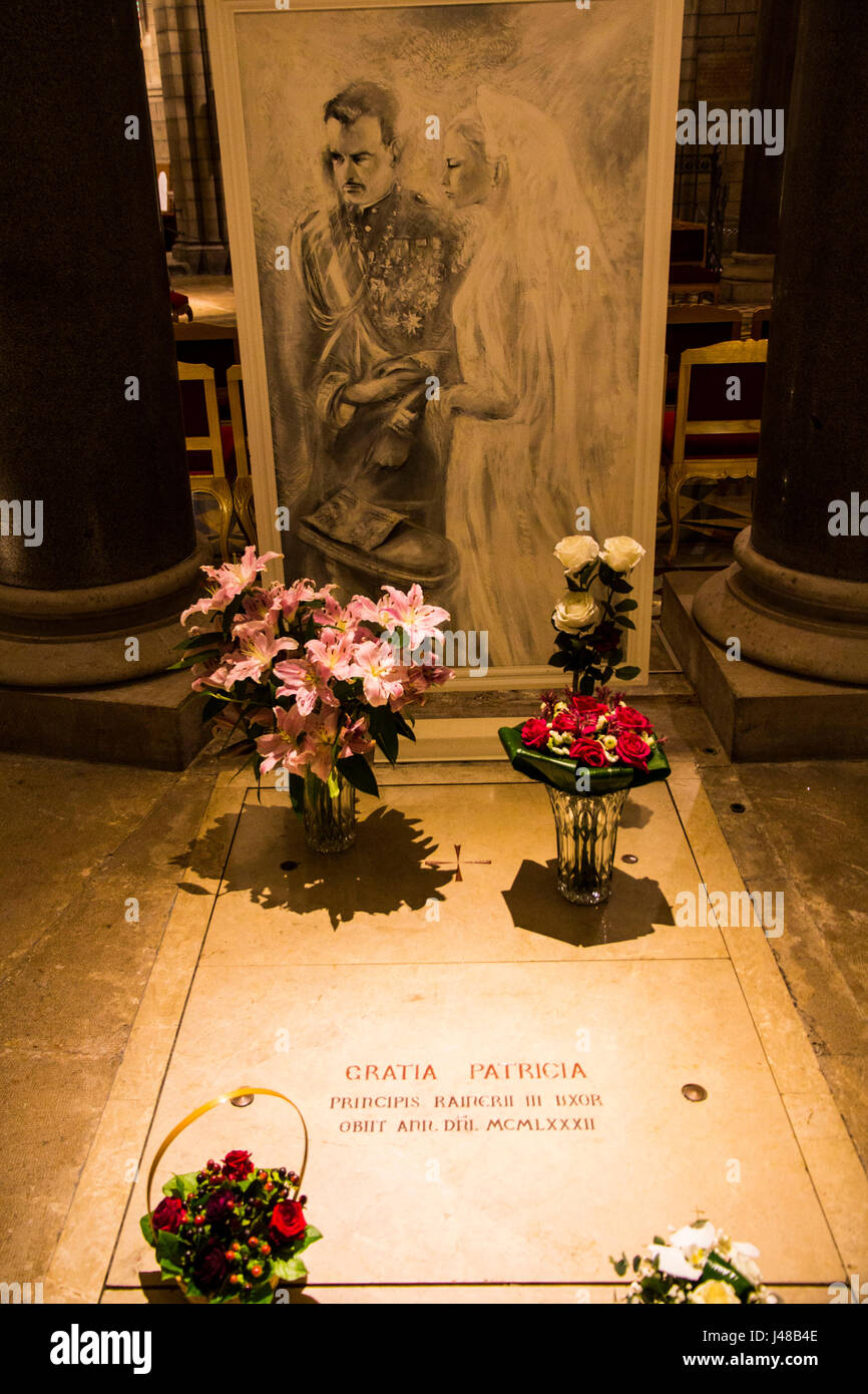 Burial vault of Princess Grace (Kelly) Grimaldi of Monaco, in Monaco Cathedral, Monte Carlo. - Stock Image