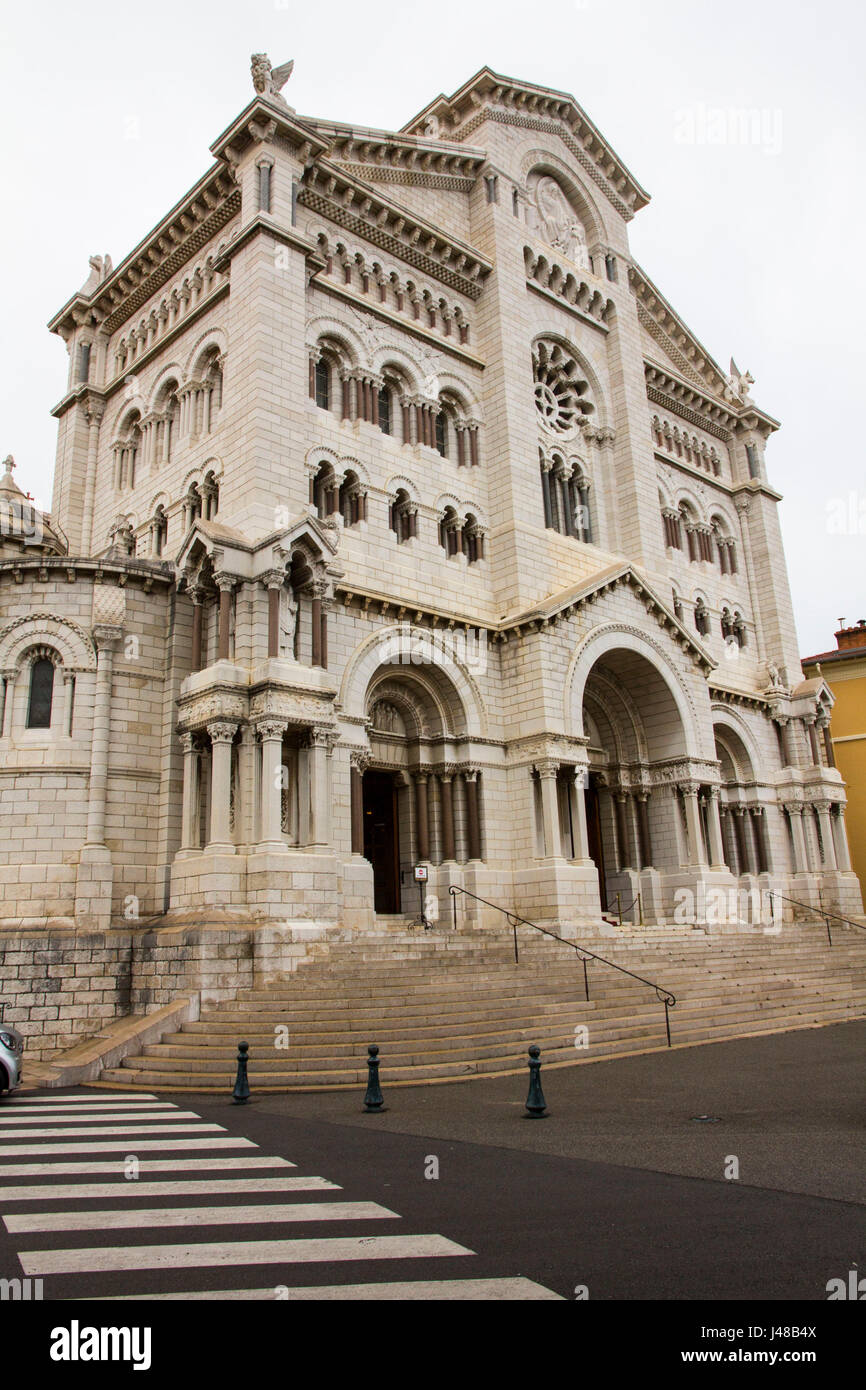 The Neo-Romanesque-style 1875 Monaco Cathedral houses the burial vaults of past sovereigns including Prince Ranier - Stock Image