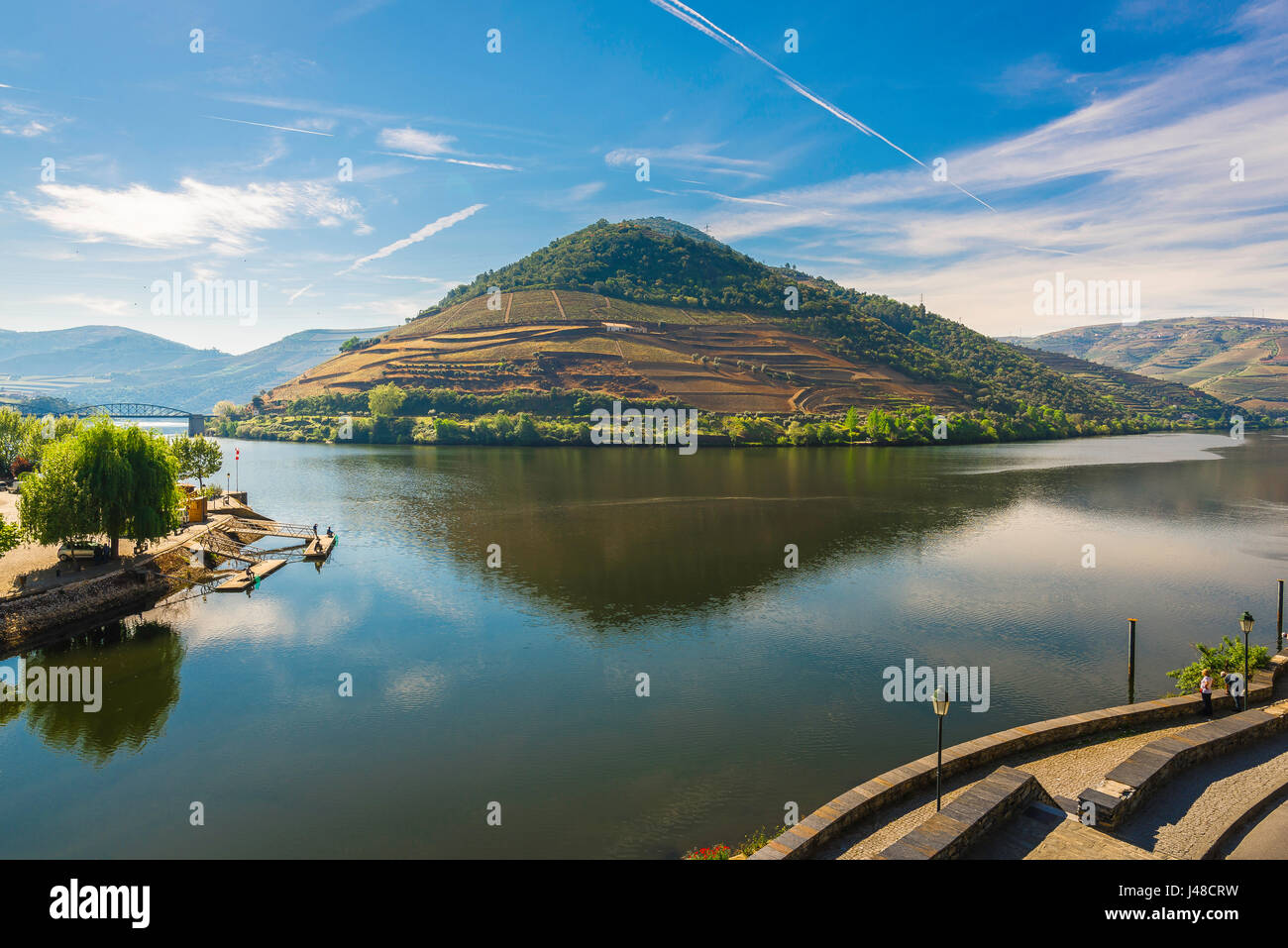 Pinhao Portugal, Pinhao waterfront showing the confluence of the Douro River and the Pinhao River in the Douro River - Stock Image