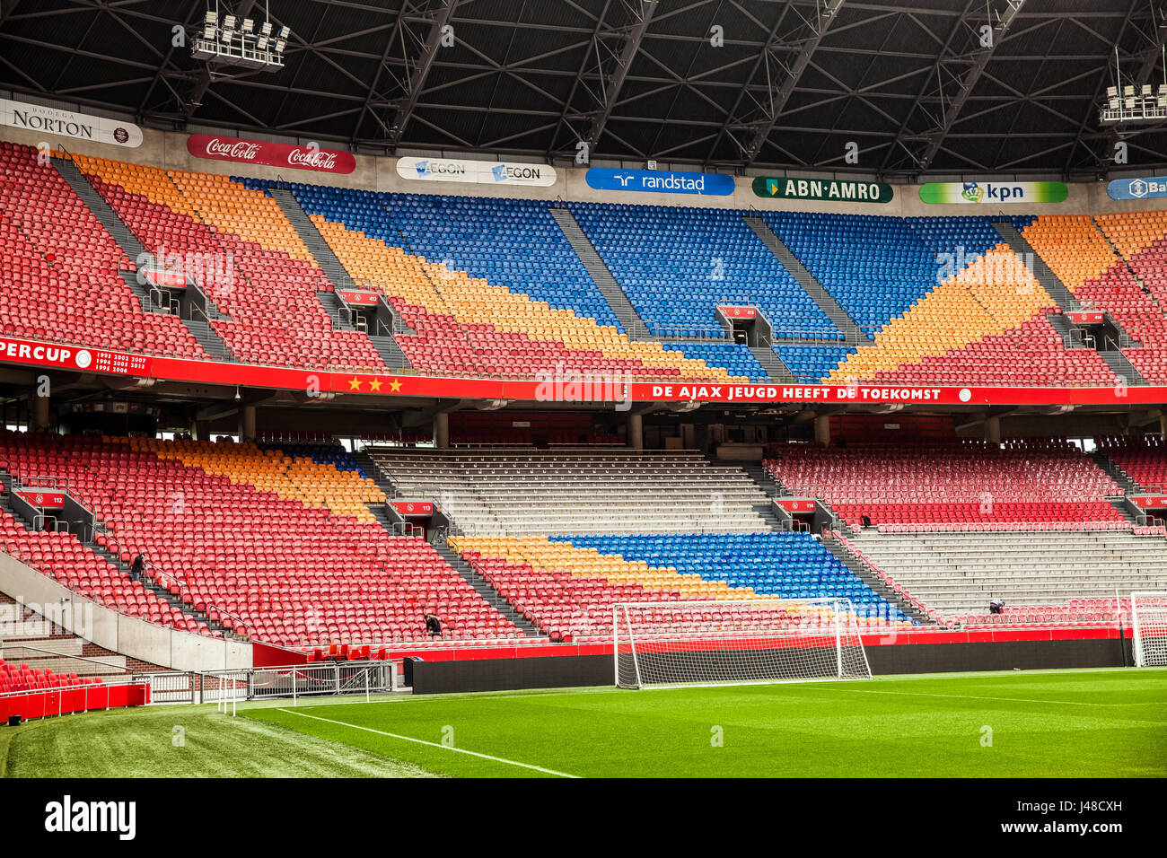 Interior view of Amsterdam Ajax Football Arena - Stock Image