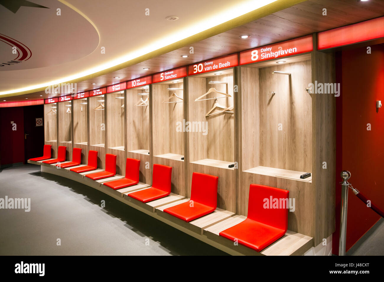 Interior view of dressing room on Amsterdam Ajax Football Arena - Stock Image