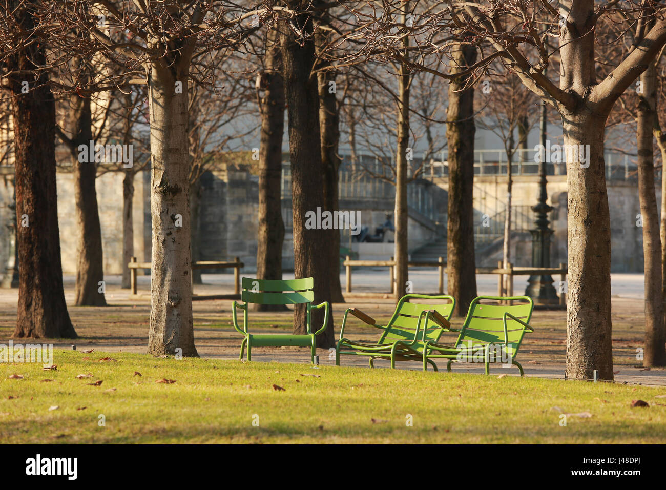Jardin des Tuileries ( Tuileries Garden ) n Paris.The garden is one of the most famous park in Europe. - Stock Image