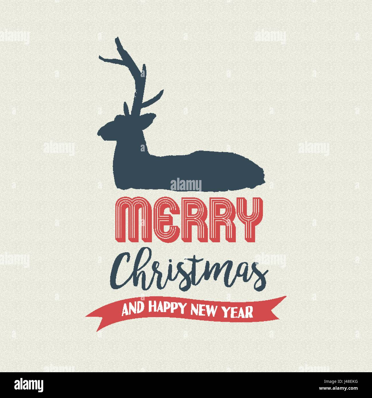 Merry Christmas deer text quote, calligraphy lettering design for holiday season. Creative vintage typography font Stock Vector
