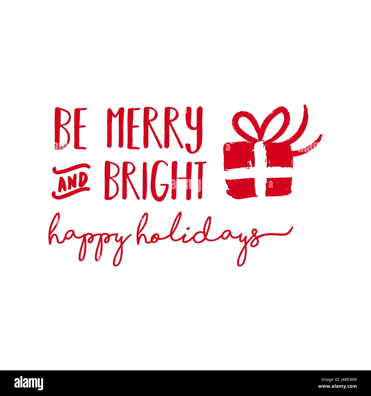 Christmas calligraphic quote design, be merry and bright lettering ...