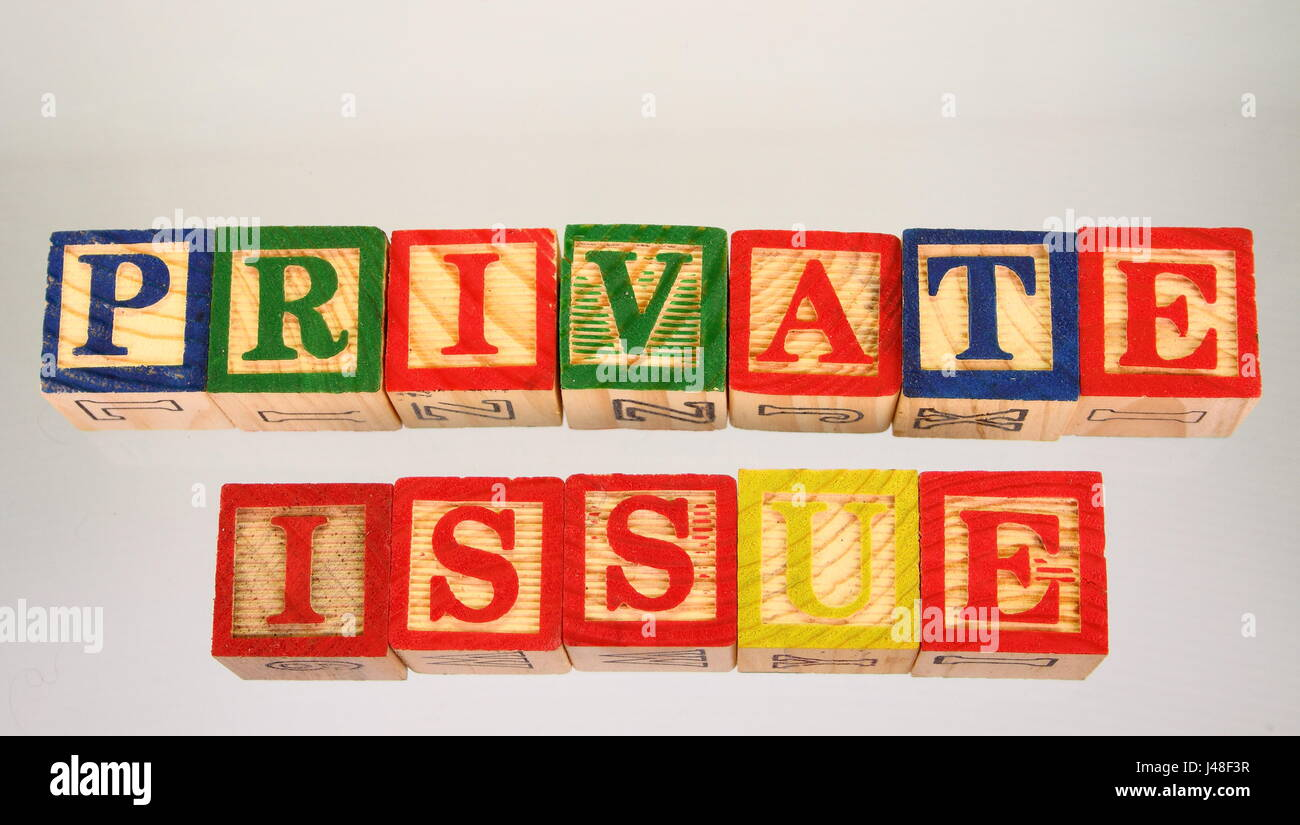 The phrase private issue displayed visually on a white background using colorful wooden blocks Stock Photo