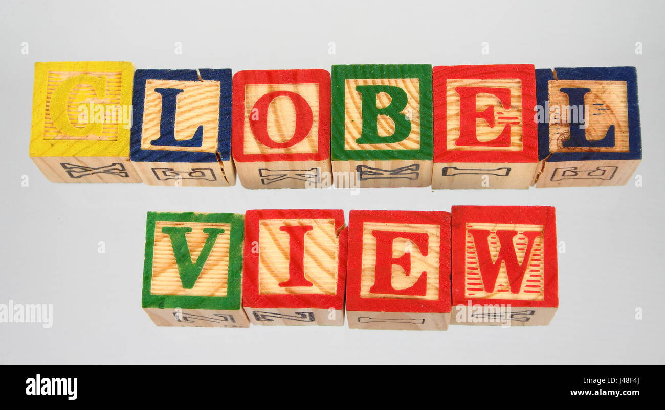 The phrase global view displayed visually on a white background using colorful wooden blocks Stock Photo