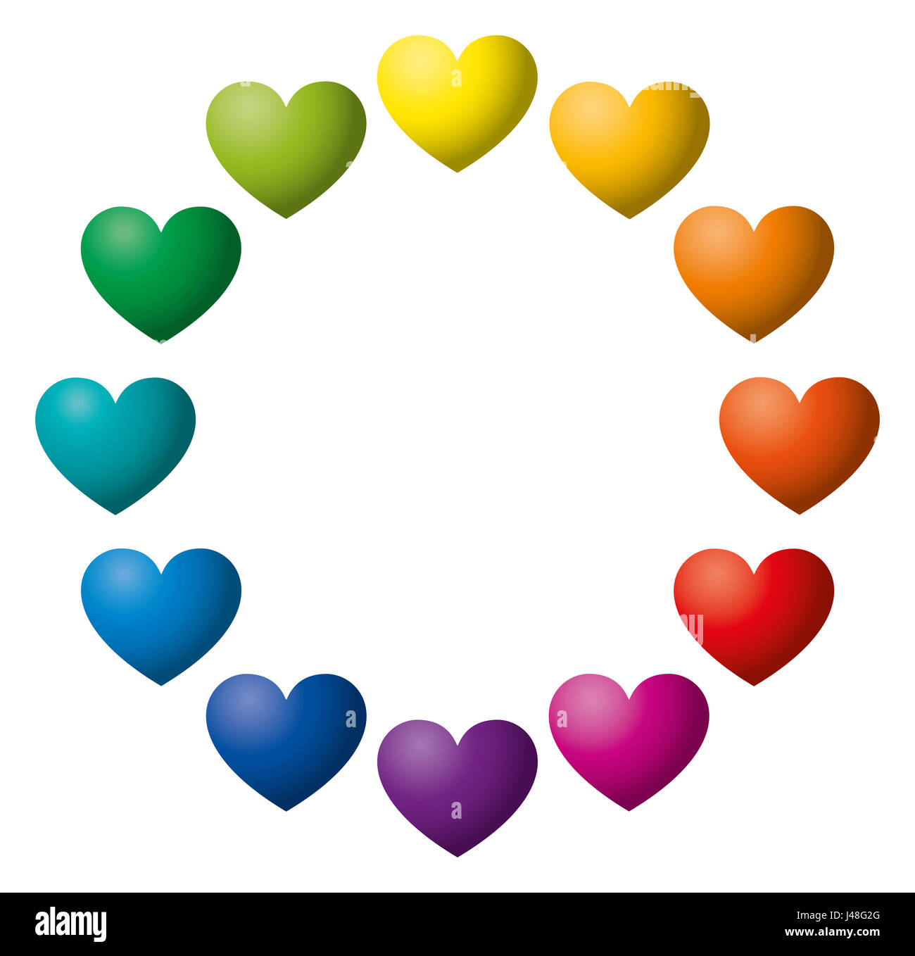 Twelve Rainbow Color Hearts Arranged In A Circle Heart Symbols In