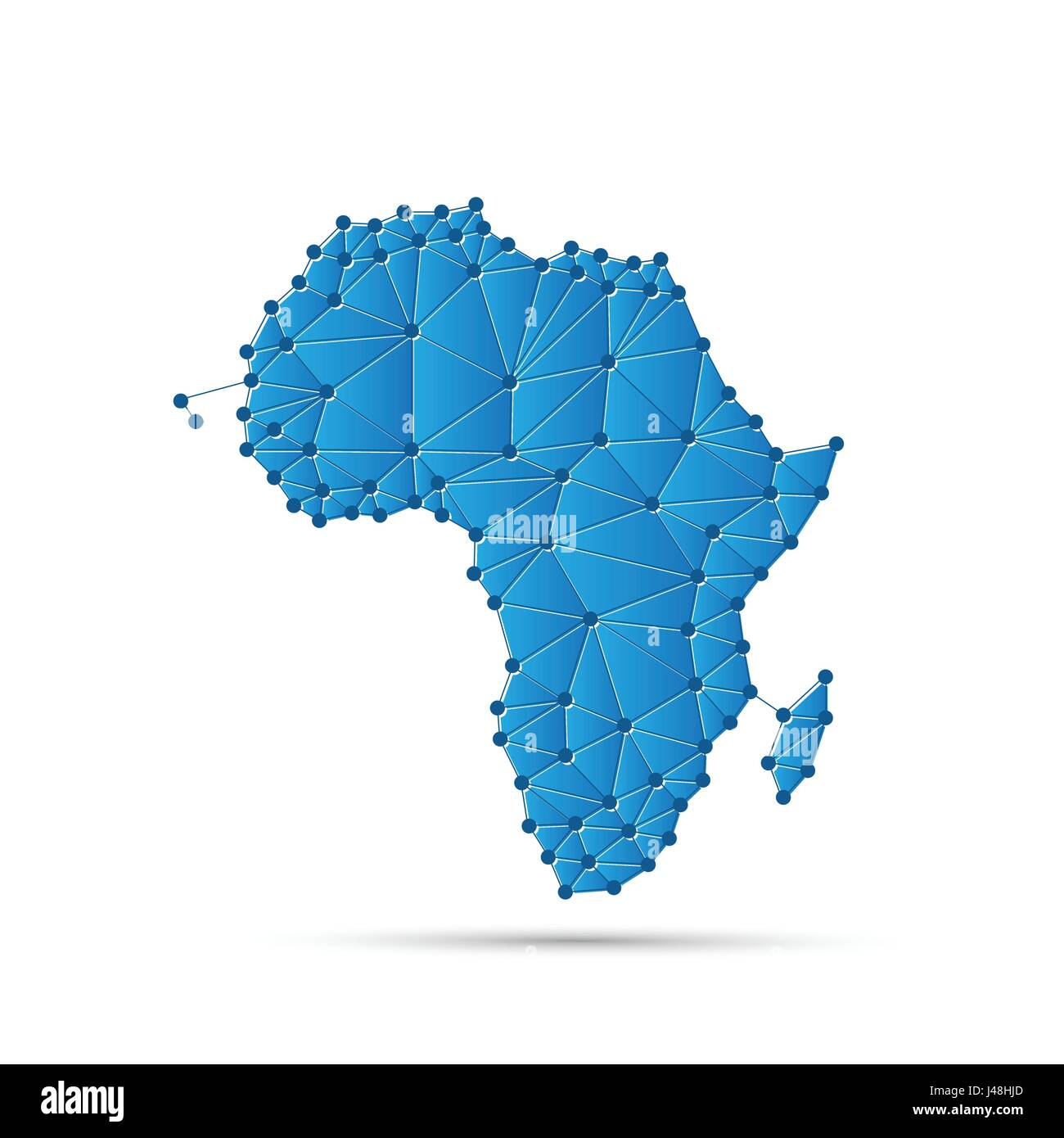 Abstract Polygonal Map of Africa with Digital Network Connections