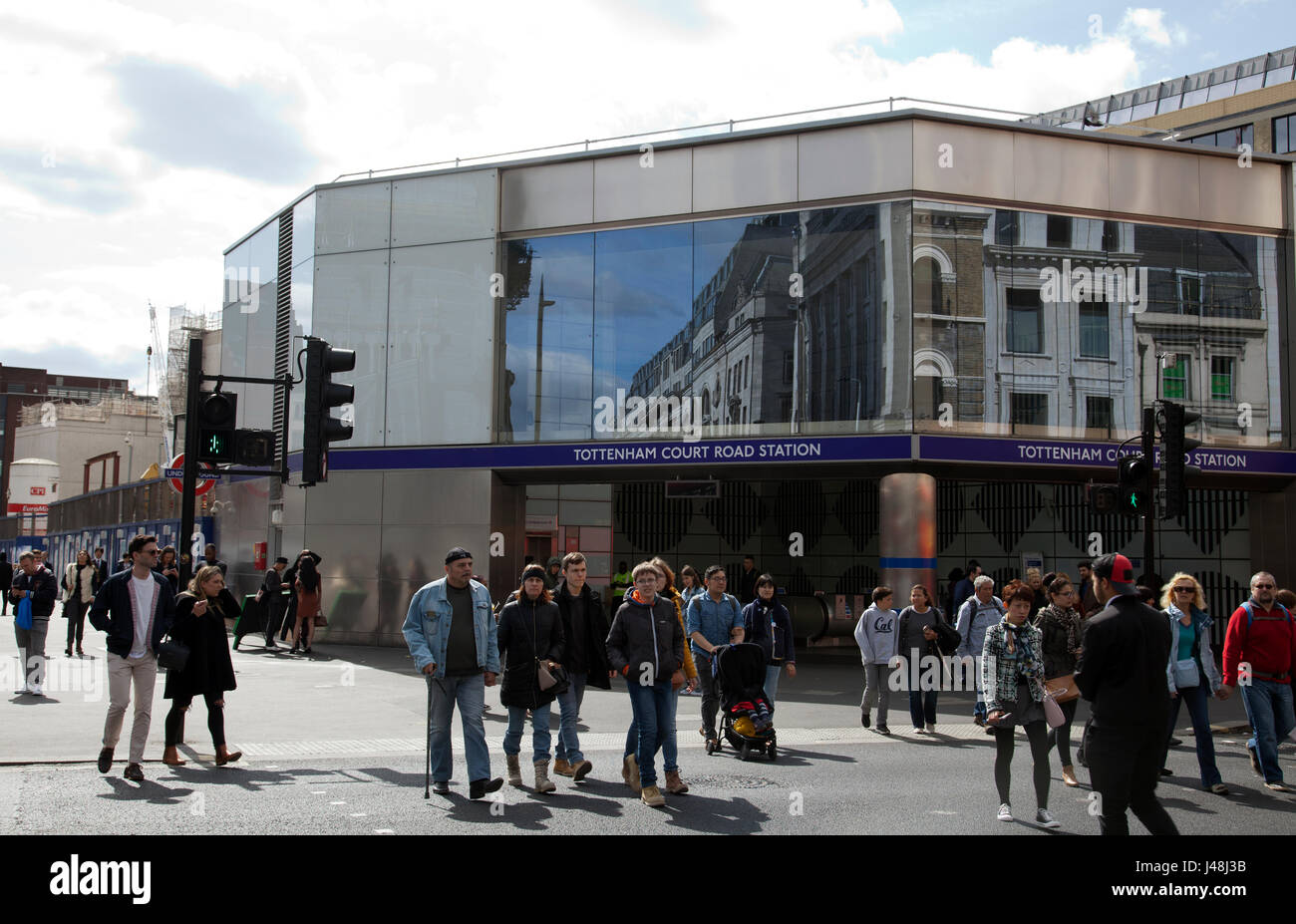 Tottenham Court Road Tube Station on Corner of Oxford Street and Charing Cross RD - London UK - Stock Image