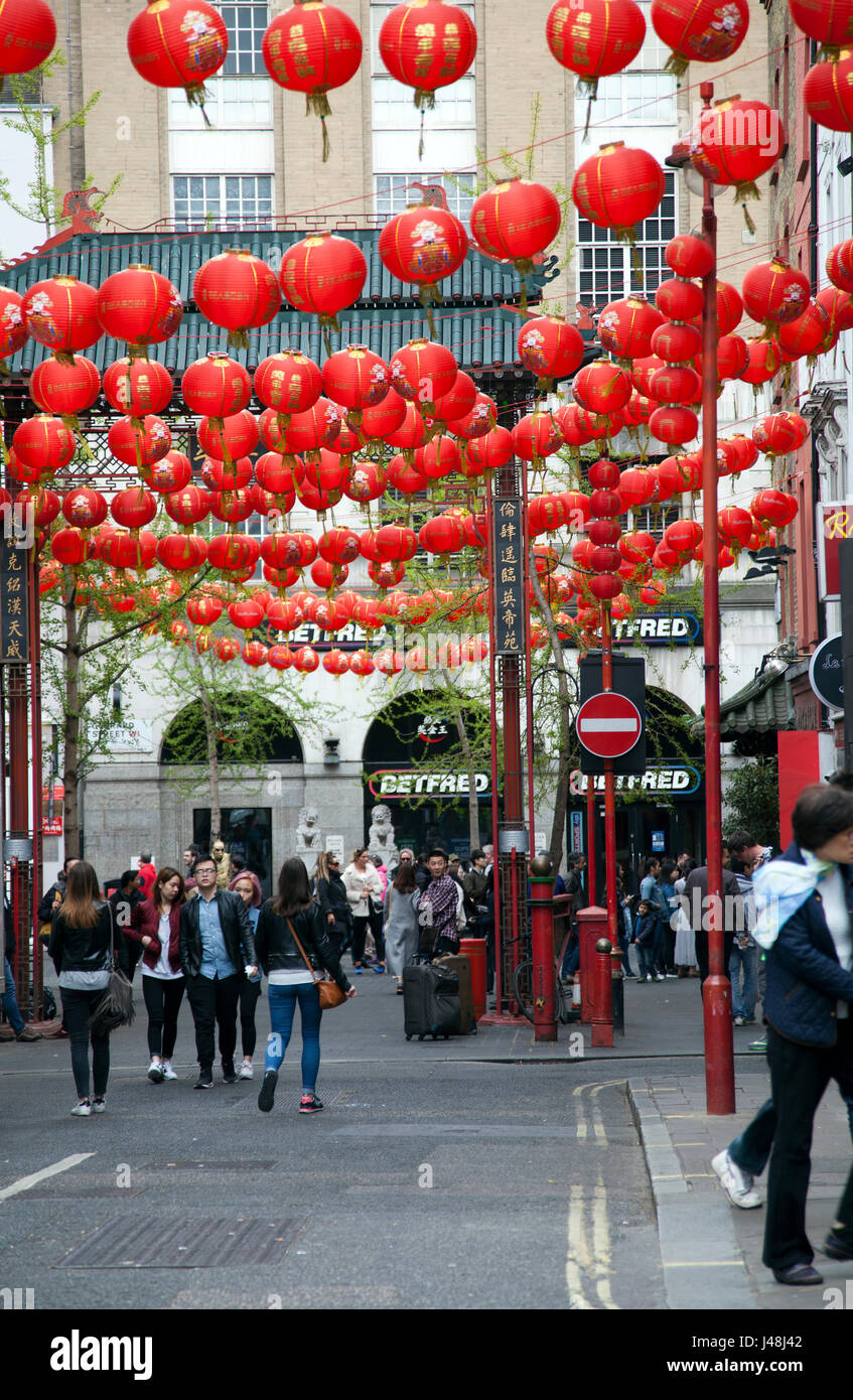 Looking into Chinatown at Gerrard Pl in London UK - Stock Image