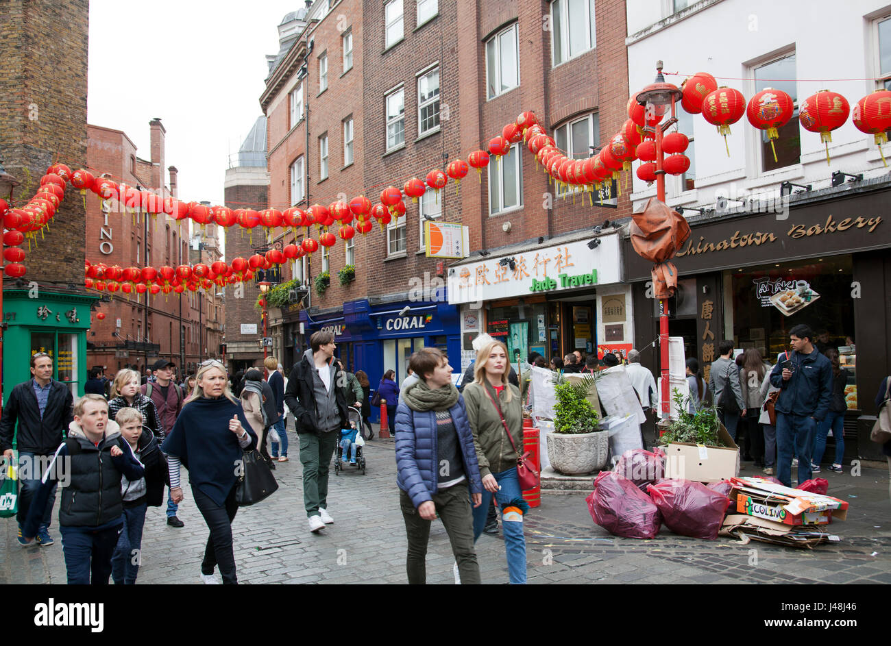 Looking at Chinatown down Newport PL in London UK - Stock Image