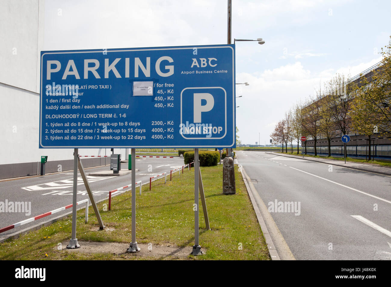 An information table with parking fees is seen at Vaclav Havel Airport (Ruzyne) in Prague, Czech Republic on April - Stock Image