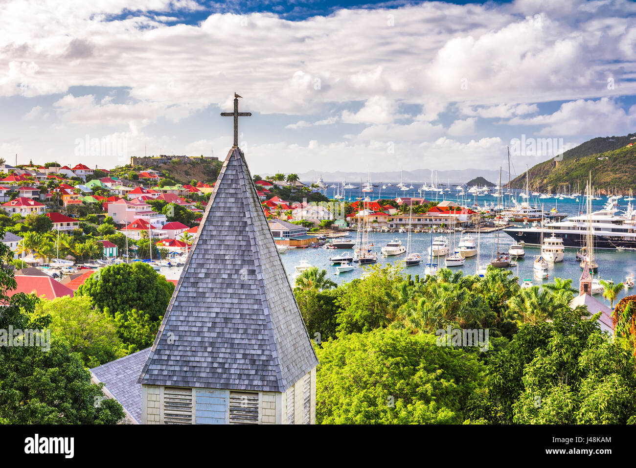 Saint Barthelemy Carribean view from behind Saint Barthelemy Anglican Church. Stock Photo