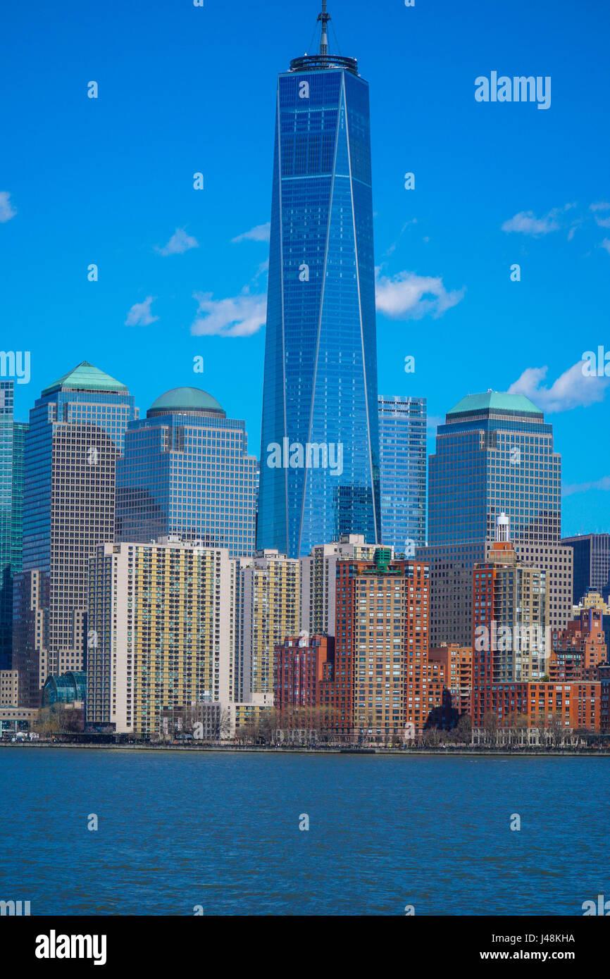 Impressive One World Trade Center Building in the Manhattan Skyline- MANHATTAN / NEW YORK - APRIL 1, 2017 - Stock Image
