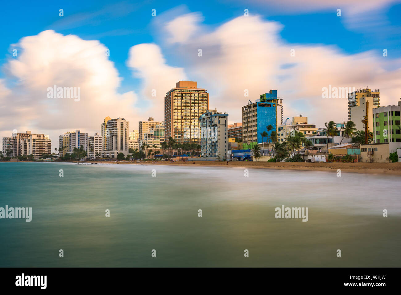 San Juan, Puerto Rico resort skyline on Condado Beach. - Stock Image