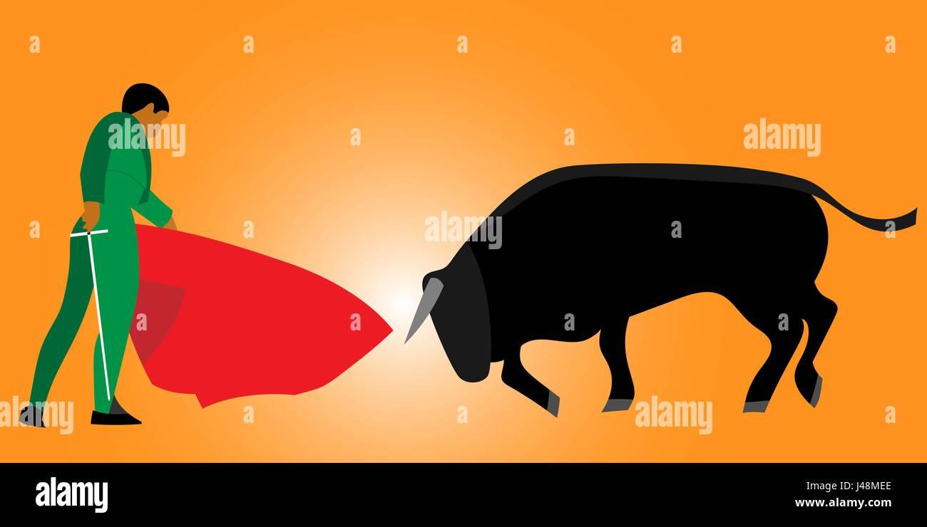 Corrida, bullfighting in Spain. Matador, bullfighter, bull. Vector illustration - Stock Vector