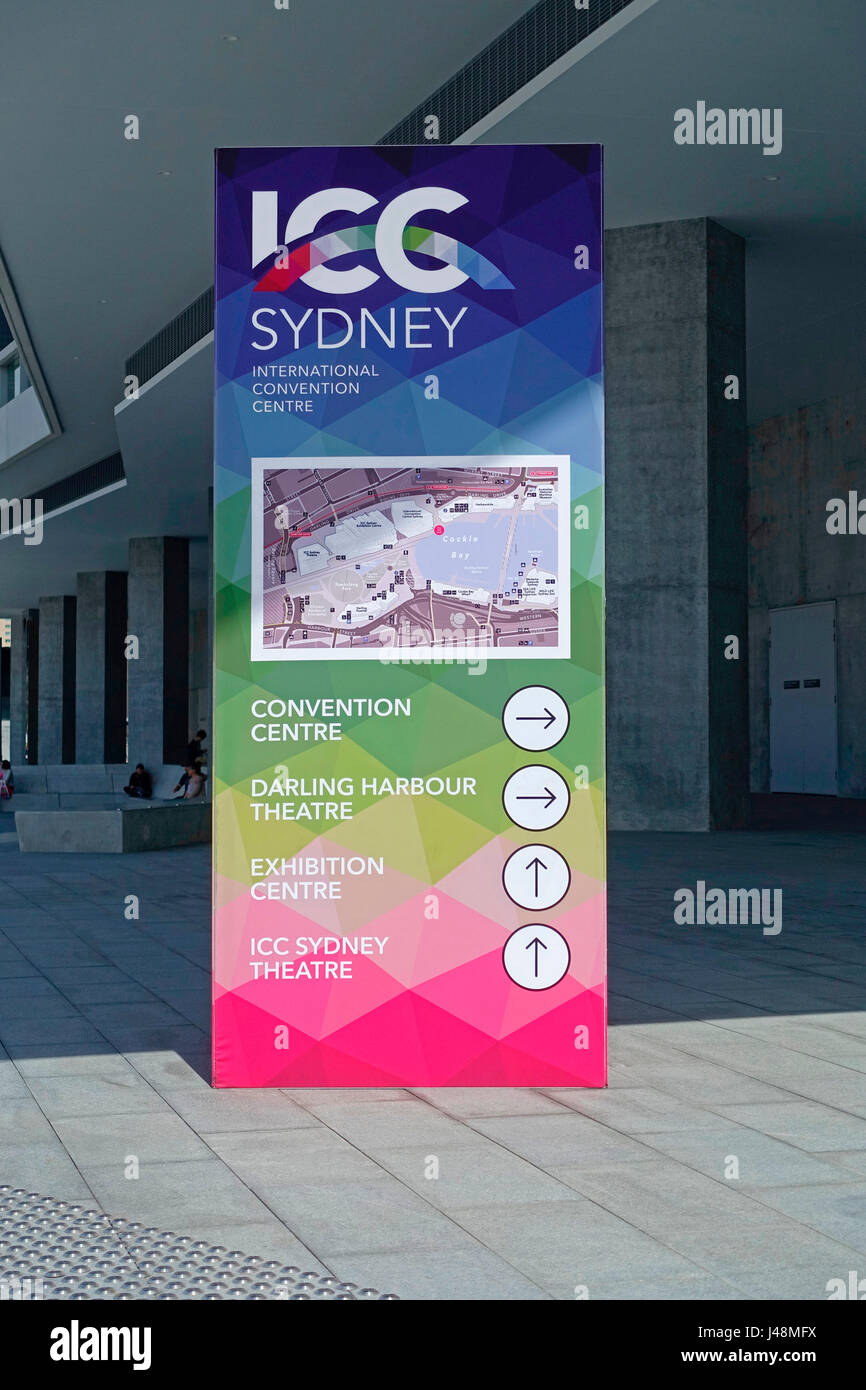 Directional map outside The ICC Convention Centre Sydney at The International Convention Centre Sydney (ICC Sydney), - Stock Image