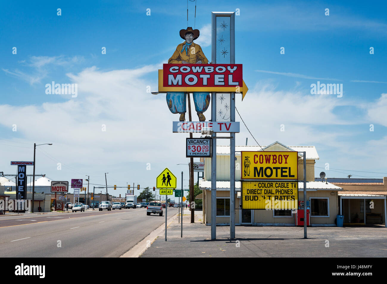 Amarillo, Texas - July 8, 2014: The old Cowboy Motel along the historic Route 66 in the Amarillo, Texas, USA. - Stock Image