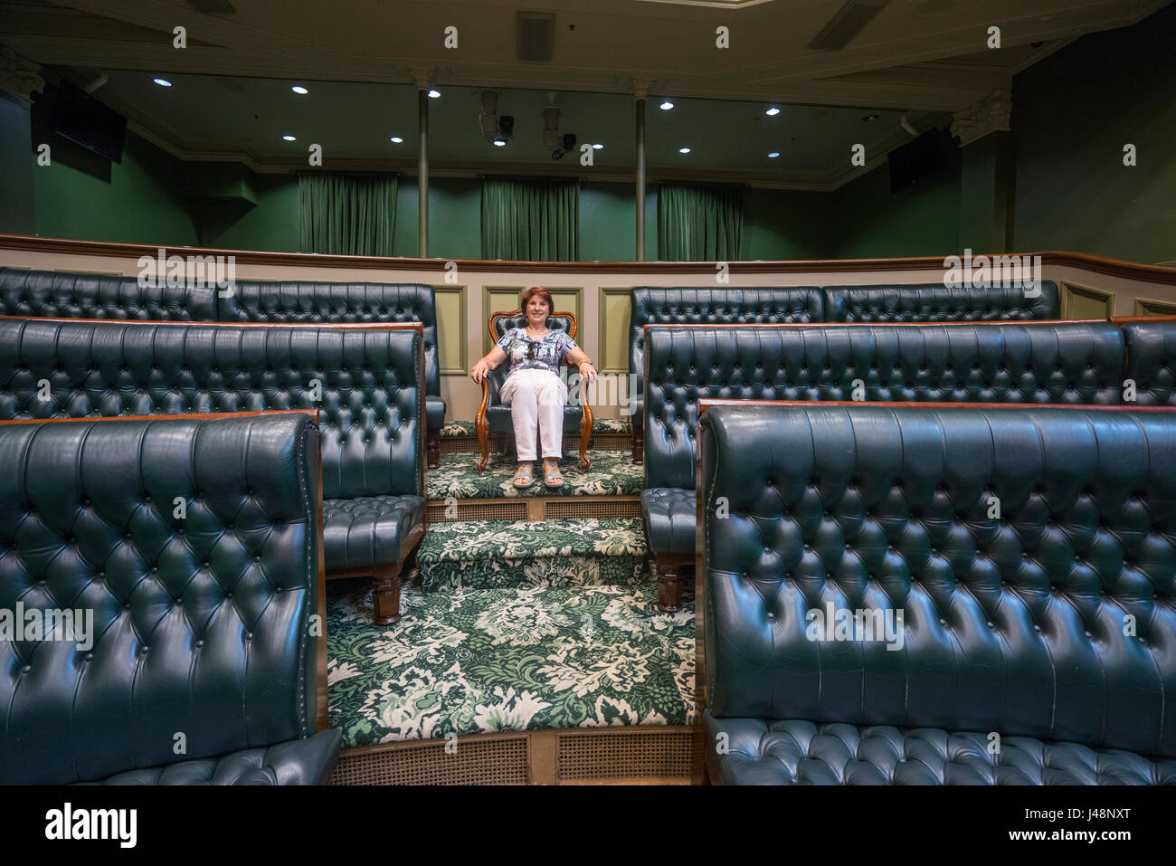 a seat in Parliament at the Legislative Assembly Chamber of the New South Wales Parliament during Open Sydney - Stock Image
