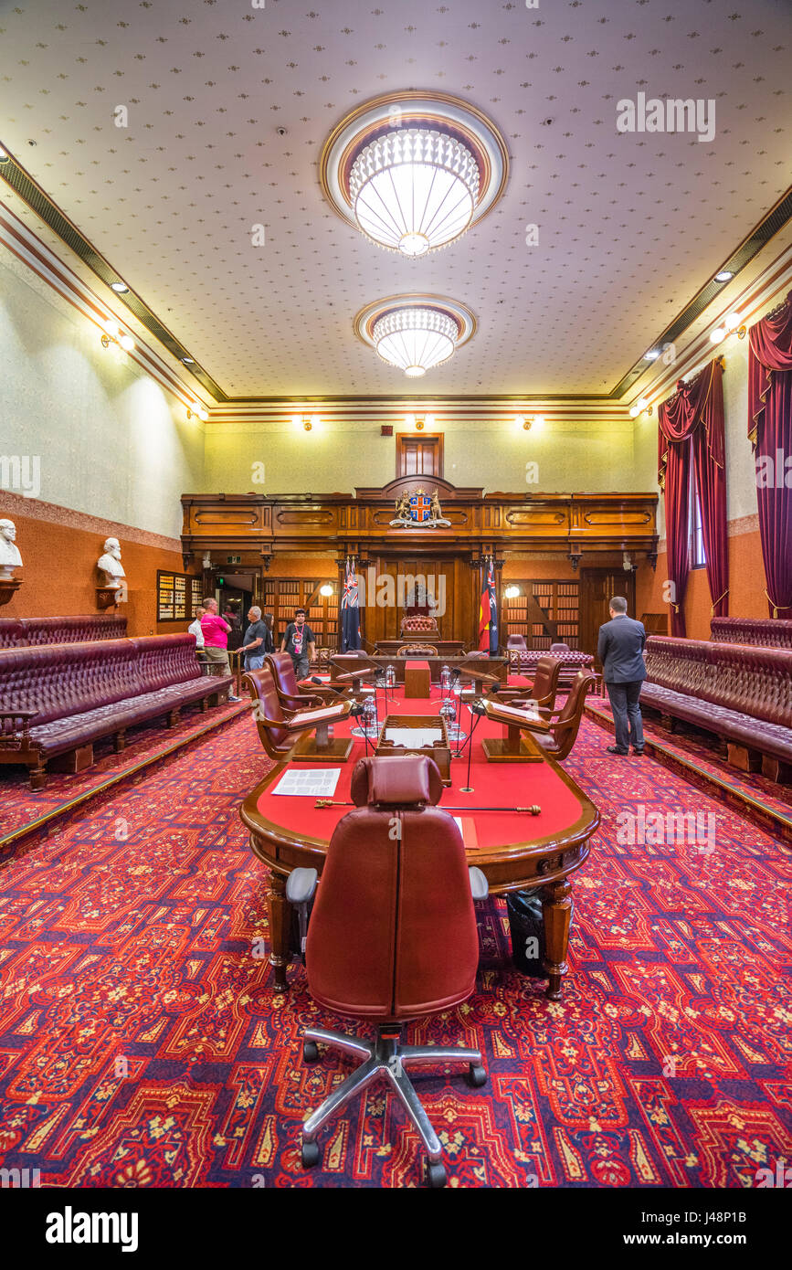 Australia, New South Wales, Sydney, the upper house Legislative Council Chamber of the New South Wales Parliament - Stock Image