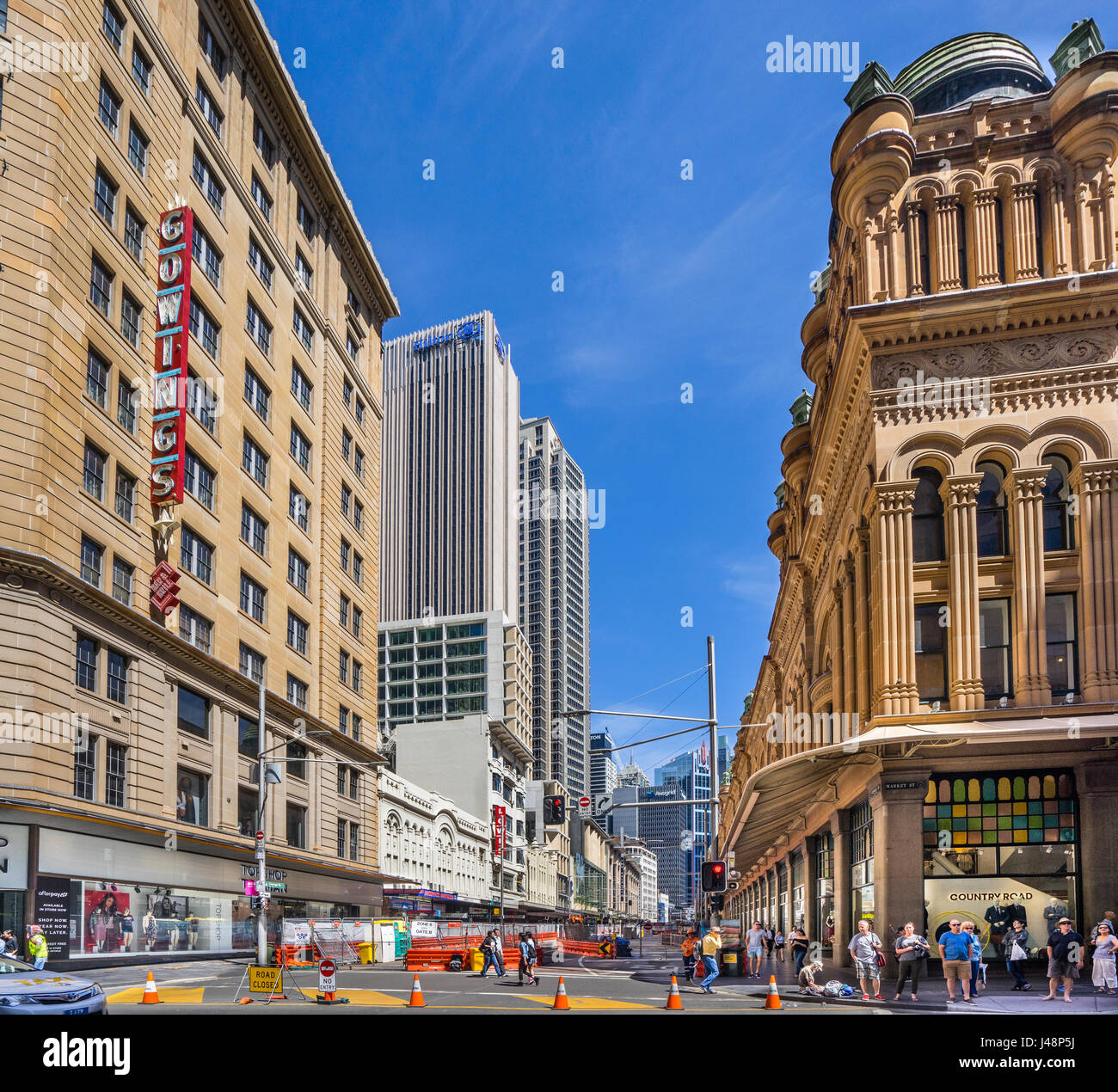 Australia, New South Wales, Sydney CBD, Queen Victoria Building, road closure at George Street for the construction - Stock Image