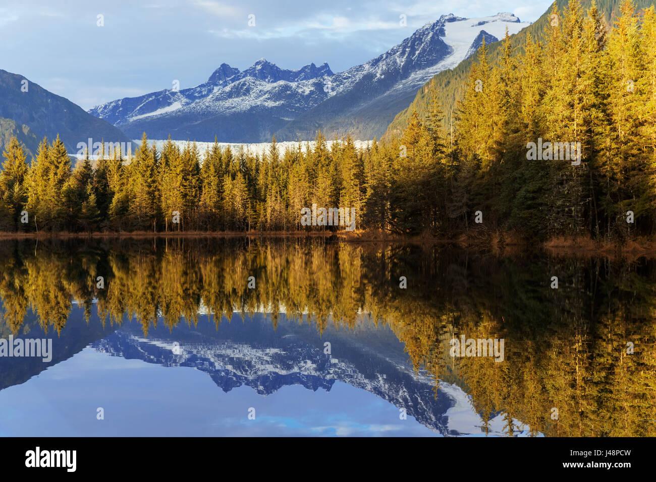 Moraine Lake at sunset, Mendenhall Recreation Area, Tongass National Forest, near Juneau; Alaska, United States - Stock Image