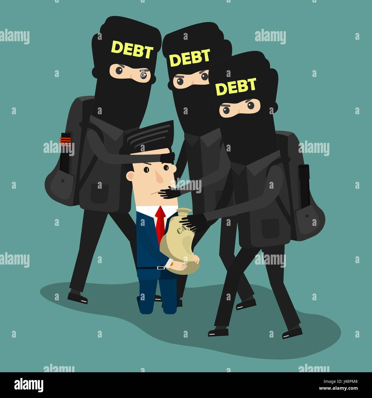 Businessman in debt. Vector Business concept cartoon illustration. - Stock Vector