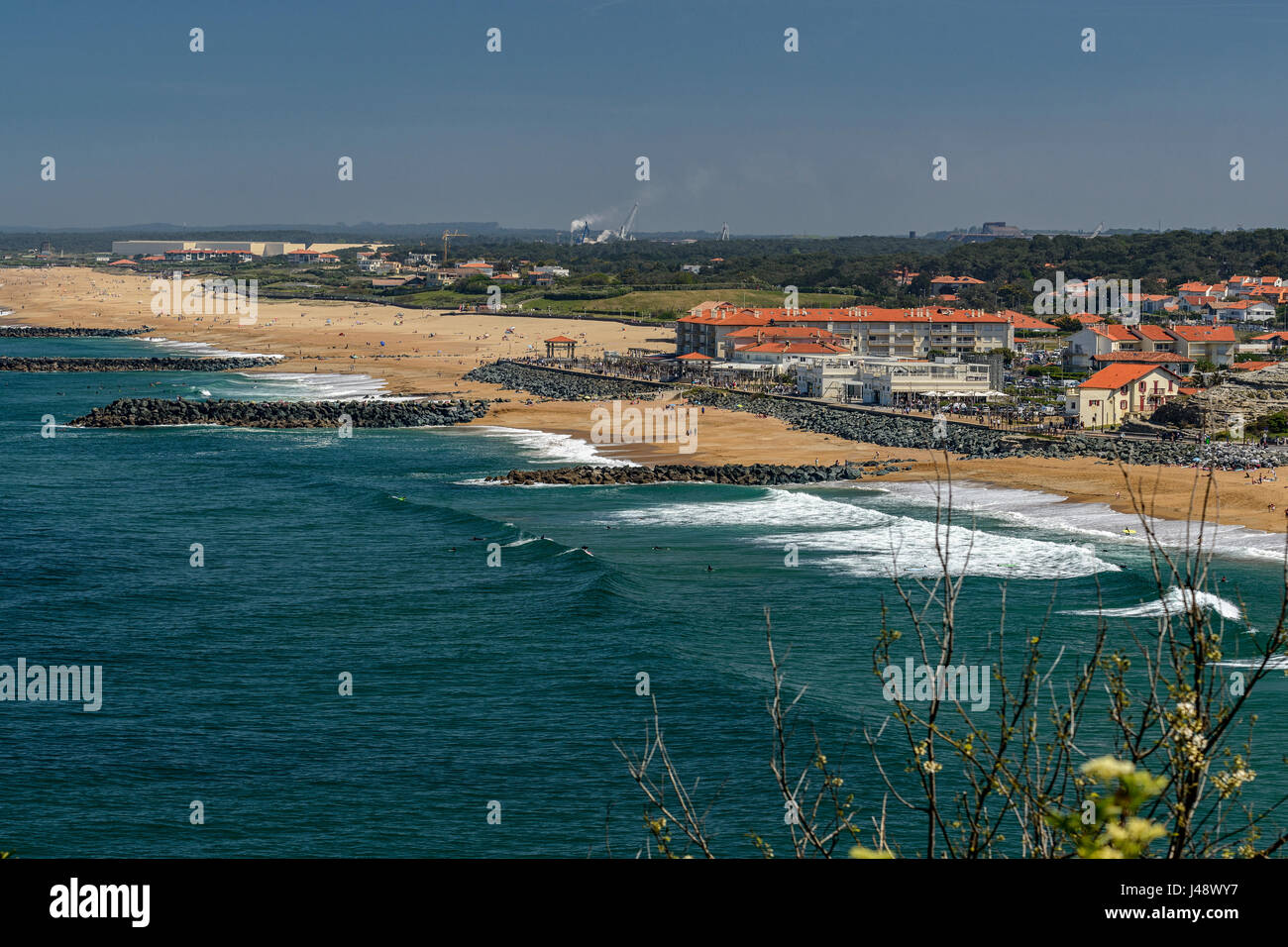 Panoramic view of boulevard des plages in Biarritz, Aquitaine, France, Europe - Stock Image