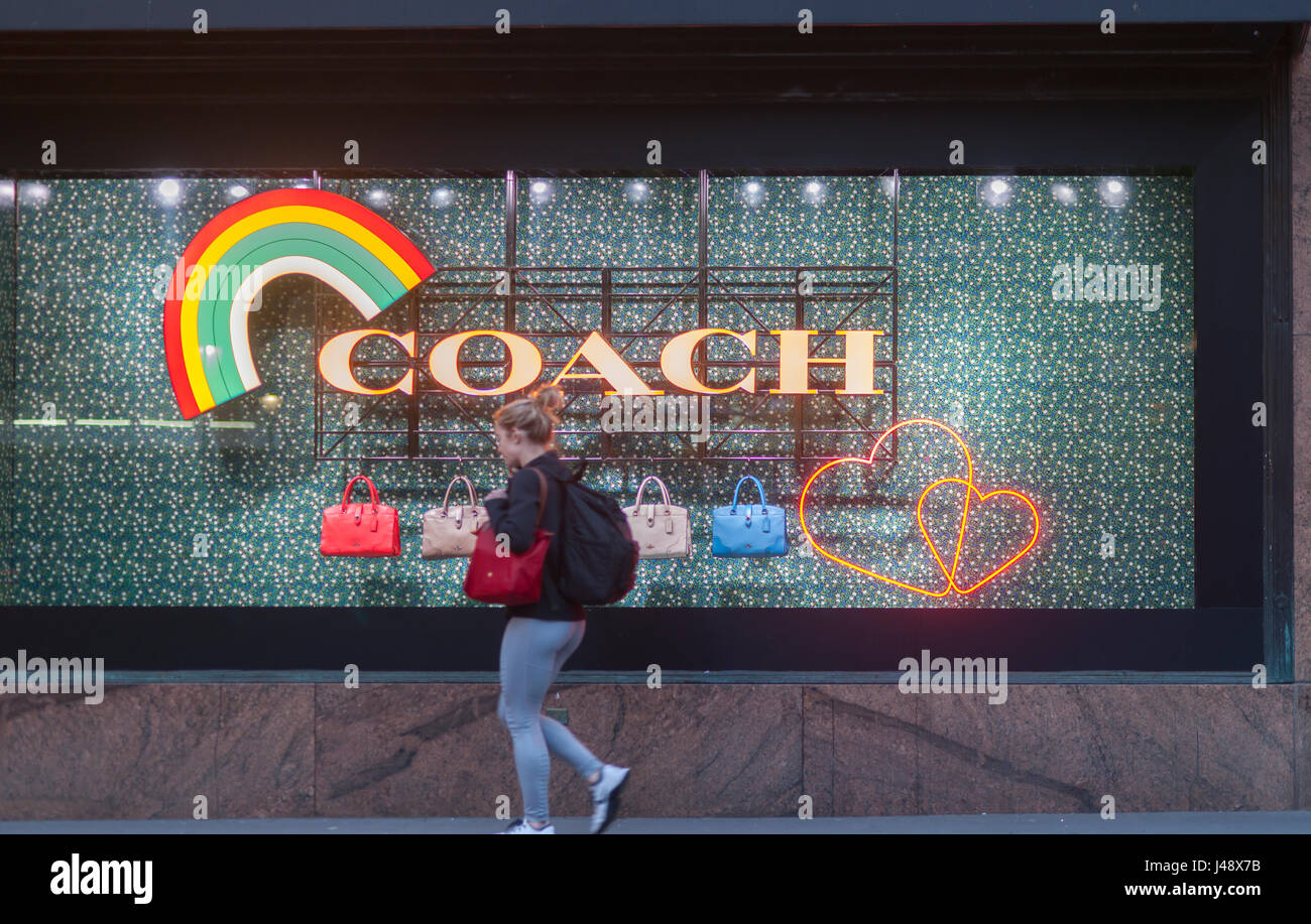 f1dc208c5f45 Macy s department store windows in New York promote Coach leather goods on  Tuesday