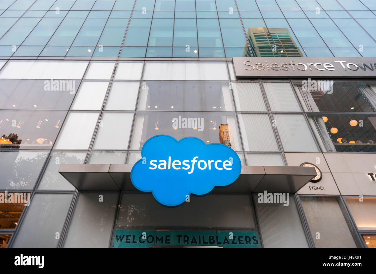 The offices of Salesforce, a cloud-computing company, are seen in Midtown Manhattan in New York on Tuesday, May - Stock Image