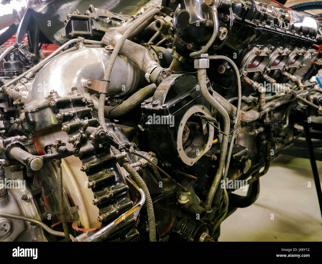 Close up of a Rolls Royce Merlin piston engine - Stock Image