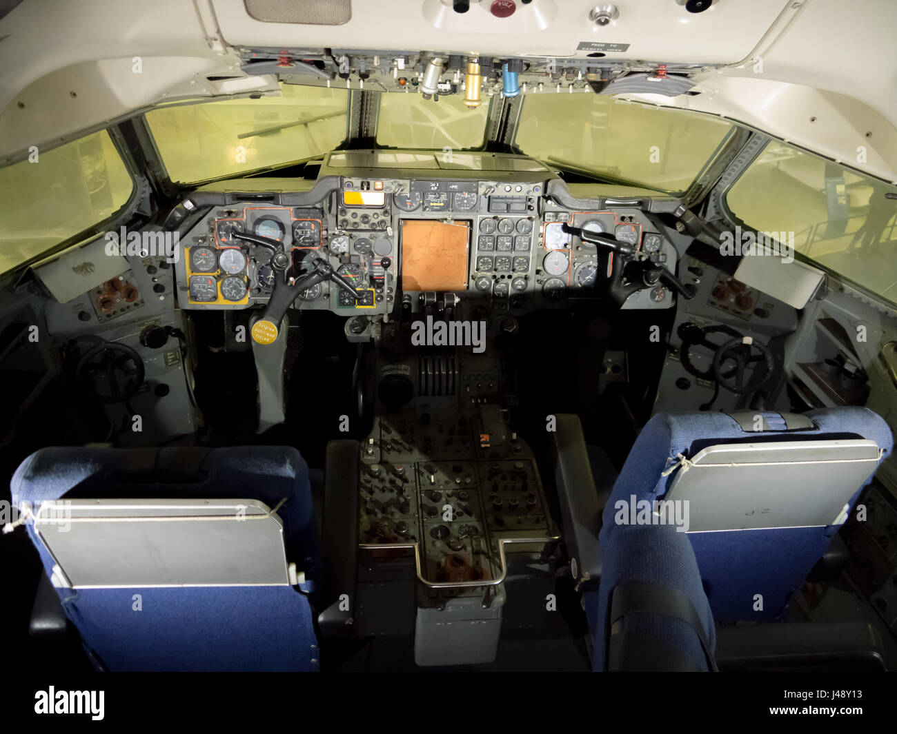 The cockpit interior of a Hawker Siddeley HS 121 Trident - Stock Image