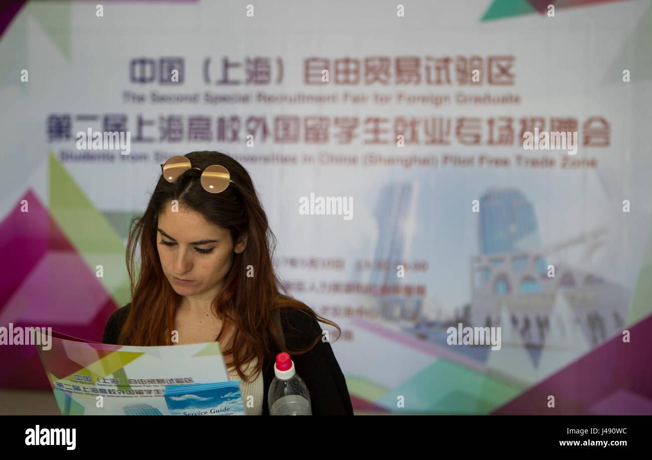 Shanghai, China. 10th May, 2017. Camilla Cazzato from Italy attends a job fair in Shanghai, east China, May 10, - Stock Image