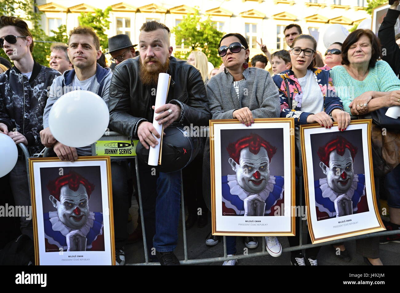 Prague, Czech republic. 10th May, 2017. More than 20 000 people protest in the Prague center against czech president - Stock Image