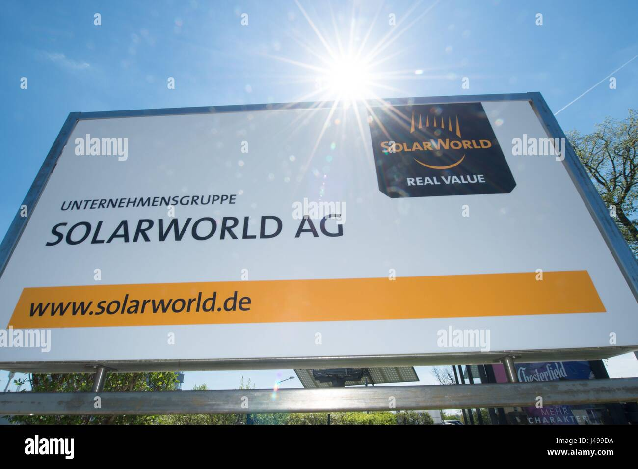 75691aa9 Freiberg, Germany. 11th May, 2017. A sign featuring the company logo ...