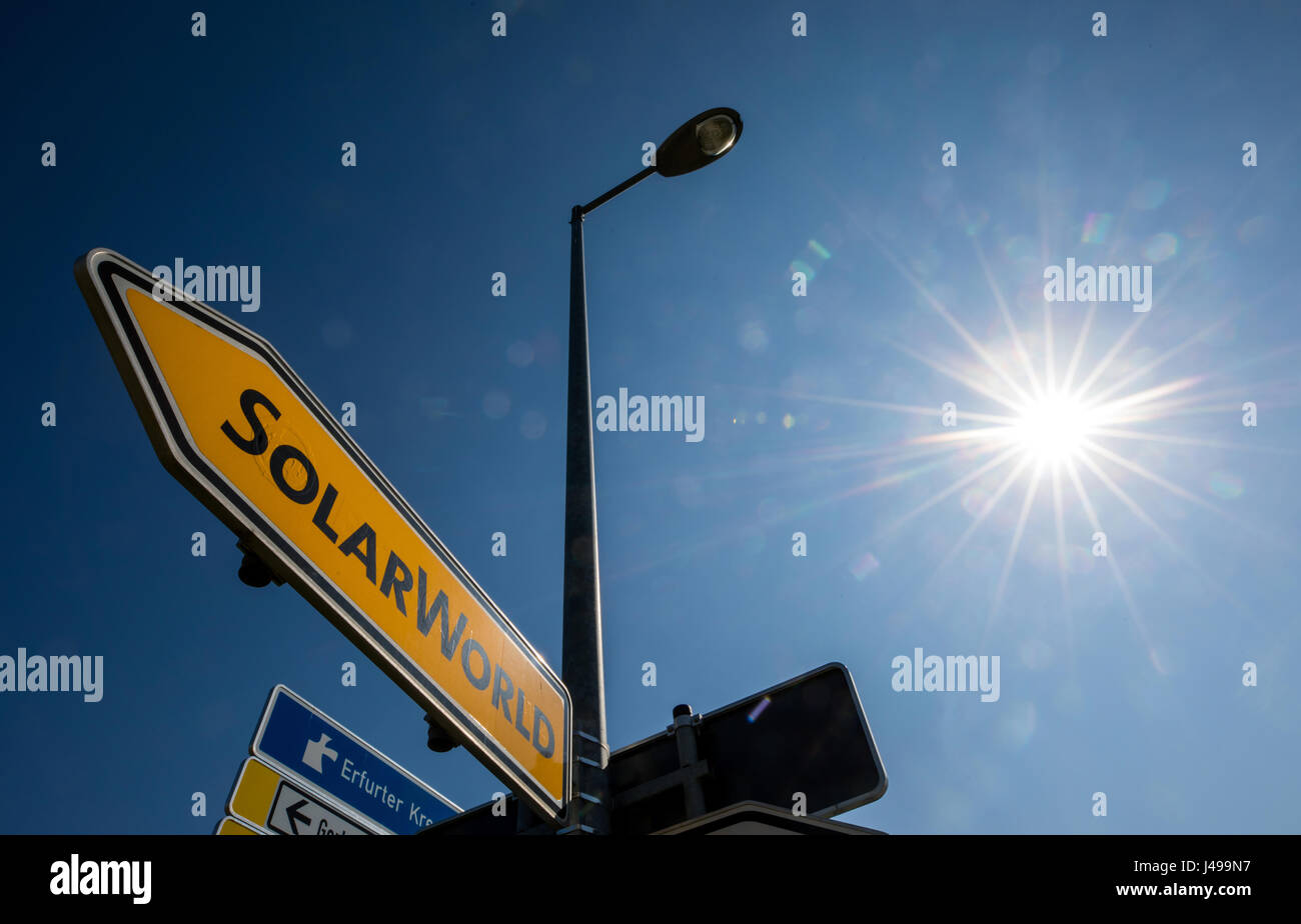 3d7a8c3f Arnstadt, Germany. 11th May, 2017. The sun shines on a sign for ...