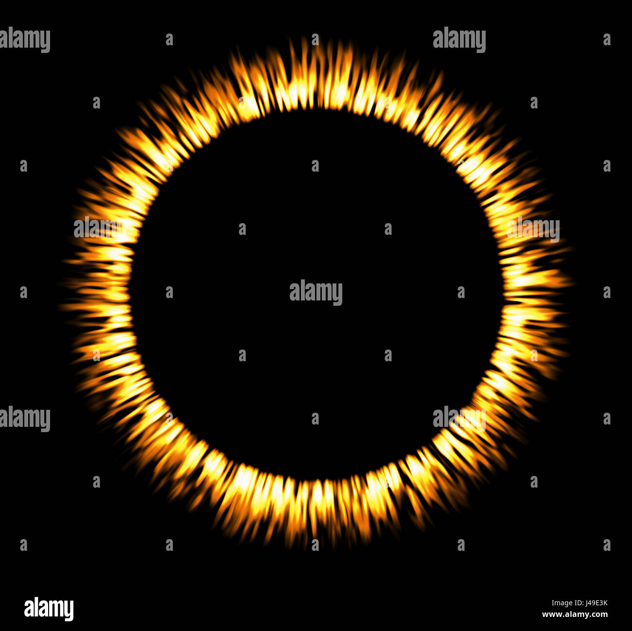 Round fire frame. Fire eclipse or fire swirl - Stock Image