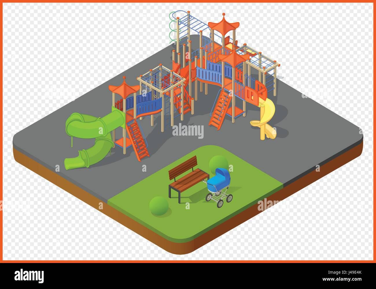 playground vector isometric - Stock Image