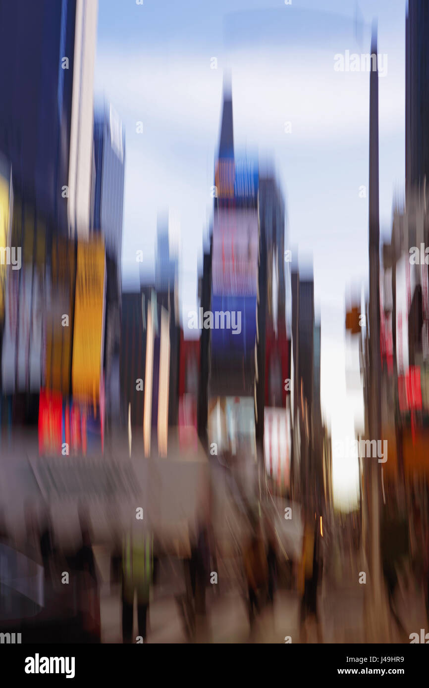 Times Square New York City blur, abstract colorful motion blur, long exposure blurred daytime background - Stock Image