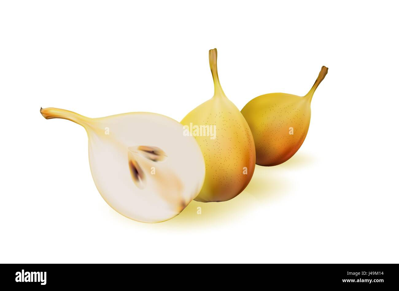 Yellow pear as source of vitamins and minerals to increase energy and combat fatigue and depression. Pear and a - Stock Image